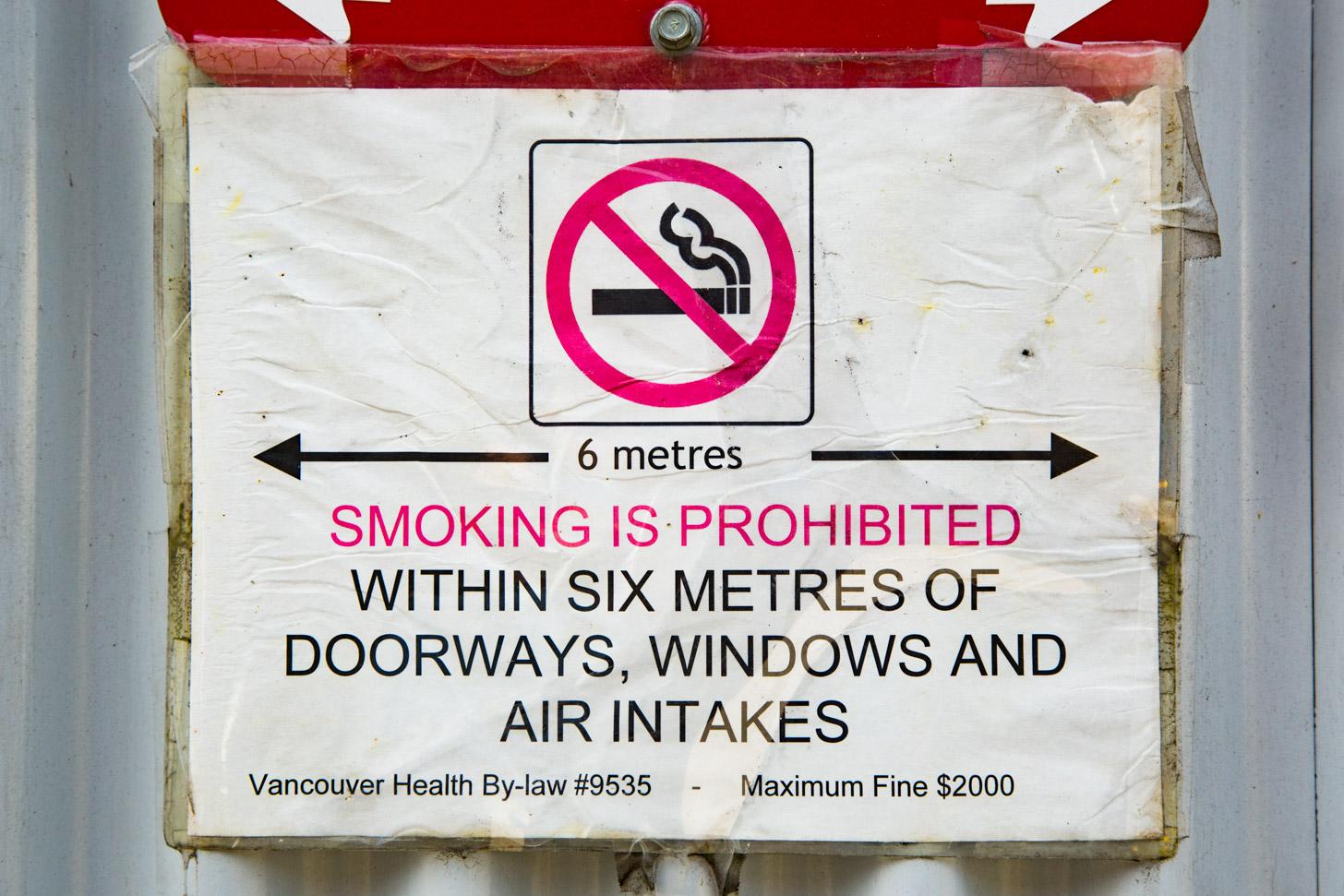 Canada kent een vrij streng anti-rookbeleid