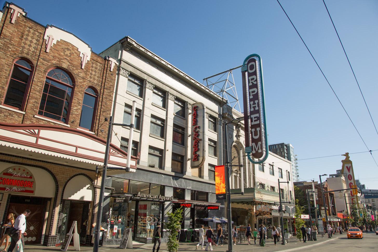 Een belangrijke winkelstraat in Vancouver